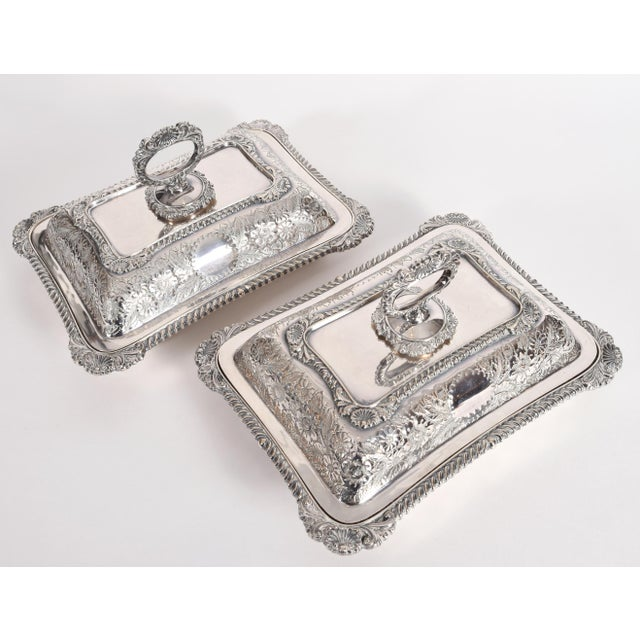 English Silver Plated Tableware Serving Dishes (2 Available) For Sale - Image 11 of 12