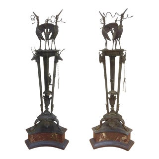 Italian Grand Tour Bronze Oil Lamps on Marble Bases - A Pair For Sale