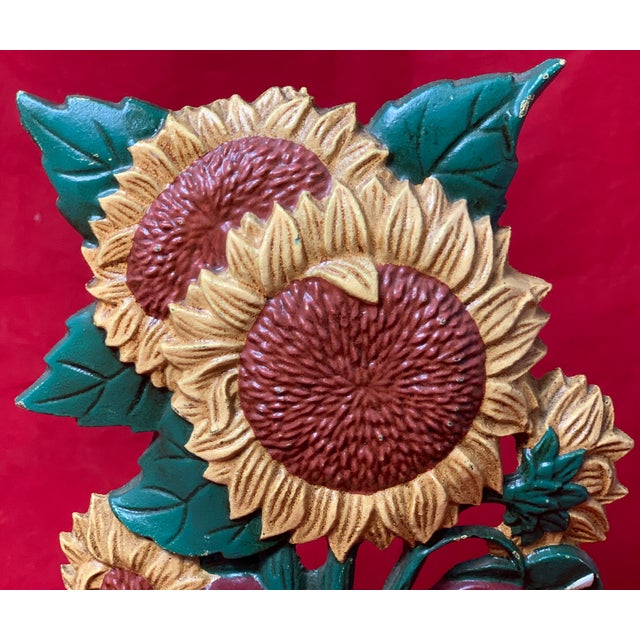 Traditional Vintage Mid Century Hand Painted Sunflowers Cast Iron Door Stop For Sale - Image 3 of 12