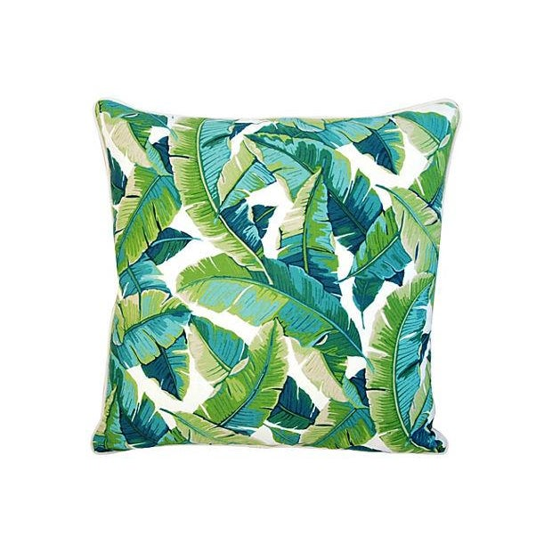 "24"" Square Custom Tailored Tropical Banana Leaf Feather/Down Pillows - Pair - Image 2 of 7"