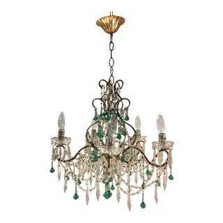 French Chandelier With Emerald and Crystal Drops For Sale