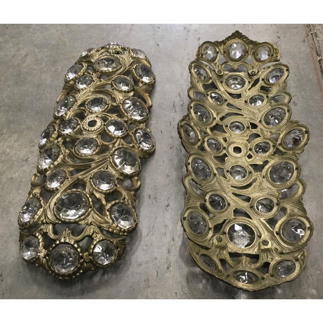 1970s Italian Bronze Sconces Embellished with Crystals - a Pair - Image 3 of 4