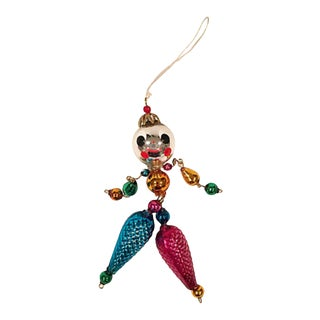 Anthromorphic Blown Glass Clown Ornament For Sale