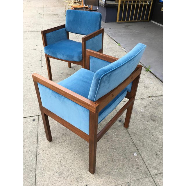 Contemporary Robert John Walnut Arm Chairs in Blue Velvet For Sale - Image 3 of 11