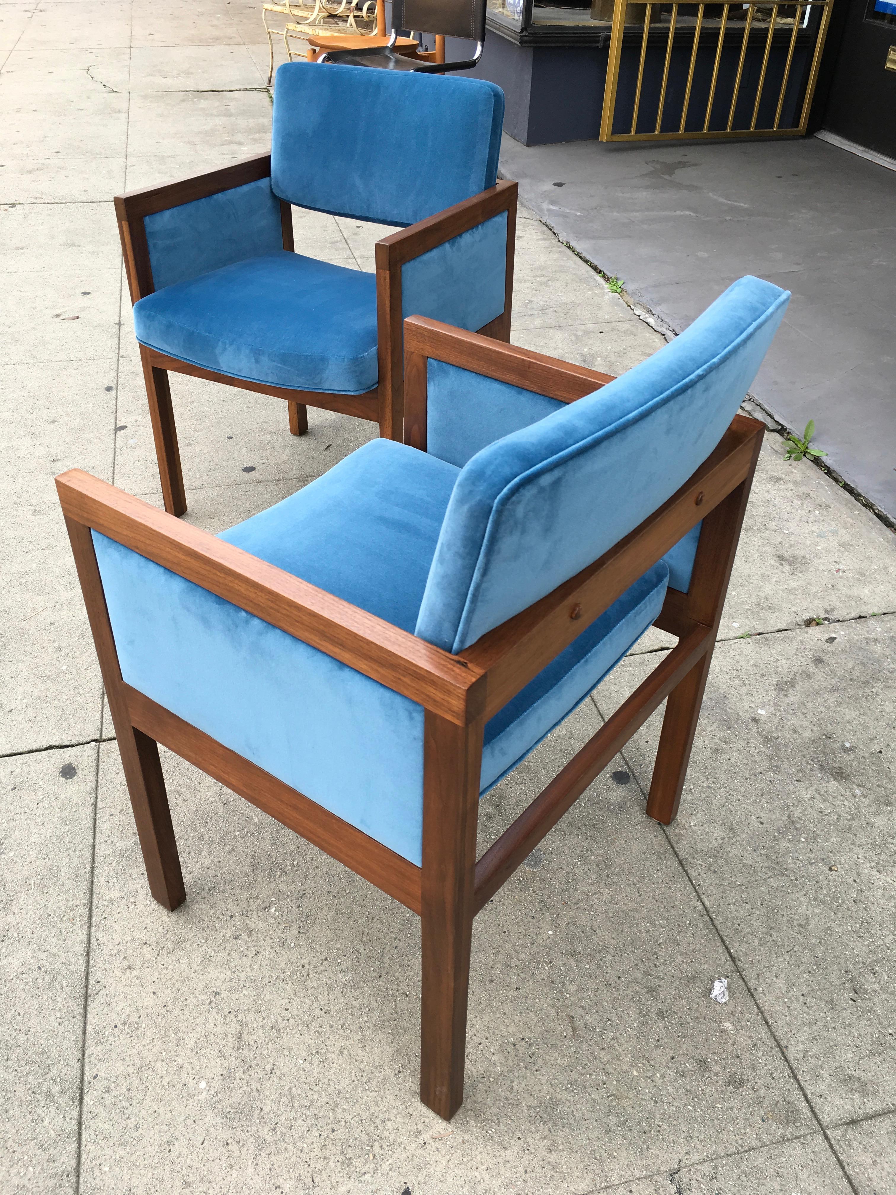 Charmant Robert John Walnut Arm Chairs In Blue Velvet   Image 3 Of 11