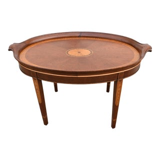 Vintage Wellington Hall Inlaid Mahogany Oval Coffee/Side Table For Sale