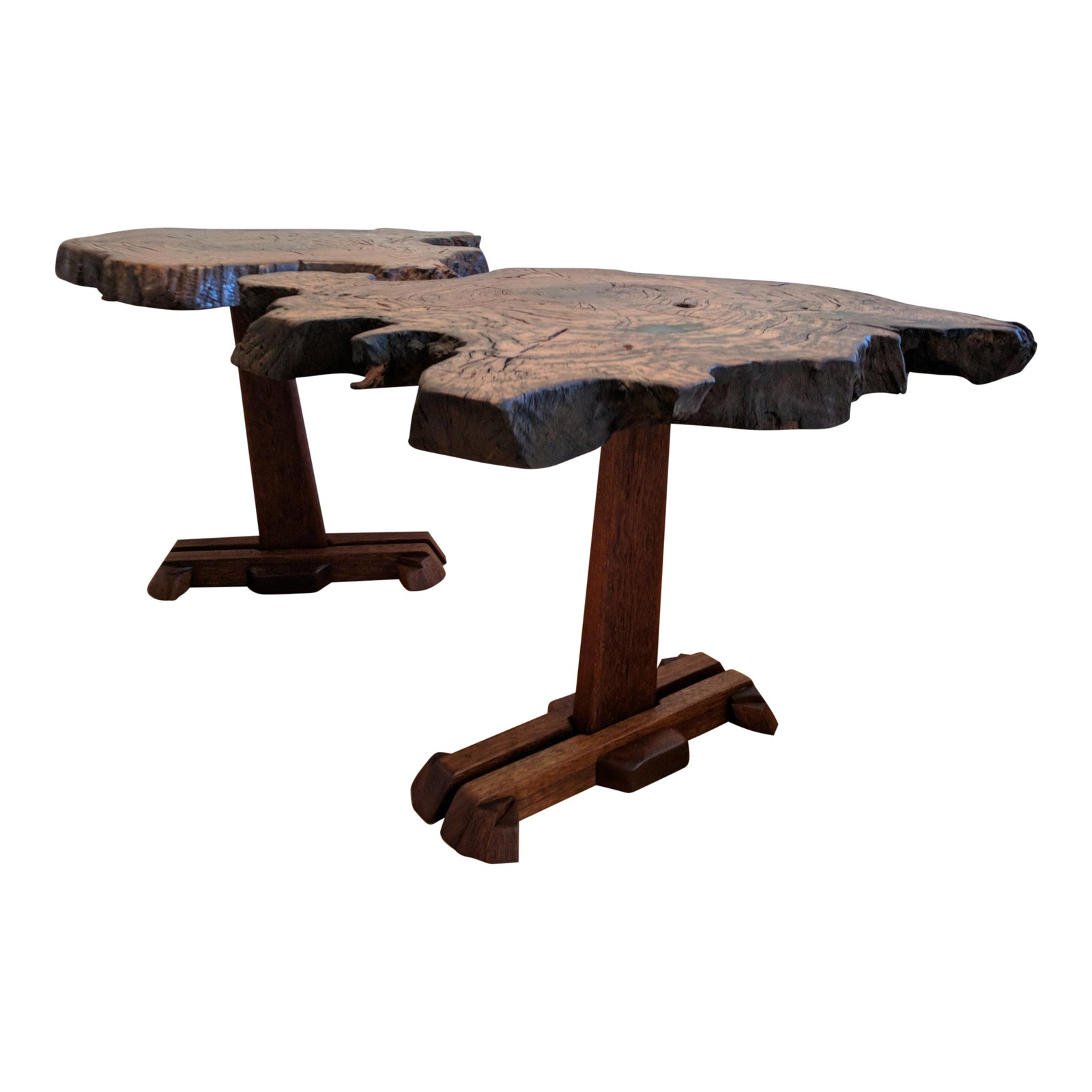Chestnut Root Burl & Sapele Side Tables - A Pair   Chairish