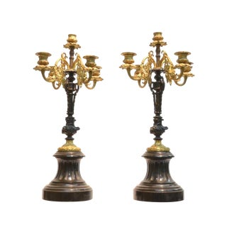 19th Century French Bronze Candelabras on Marble Pedestals - a Pair For Sale