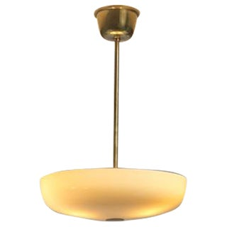Paavo Tynell Opaline Glass and Brass Pendant for Taito, Finland, 1940s For Sale