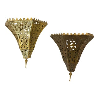1970s Moroccan Brass Triangle Wall Sconce - a Pair For Sale