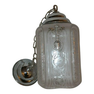 C1910-1920 Signed Baccarat French Art Deco Crystal - High Polish Nickel Plate Lantern For Sale