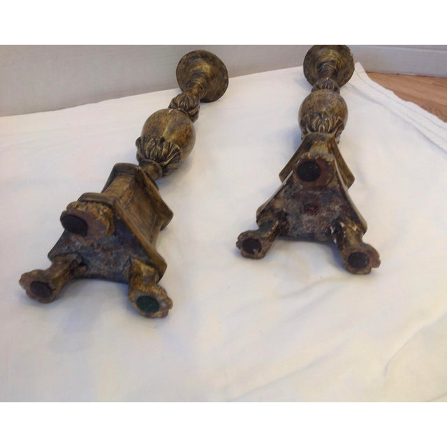 Brown Vintage Italian Pricket Sticks - a Pair For Sale - Image 8 of 13