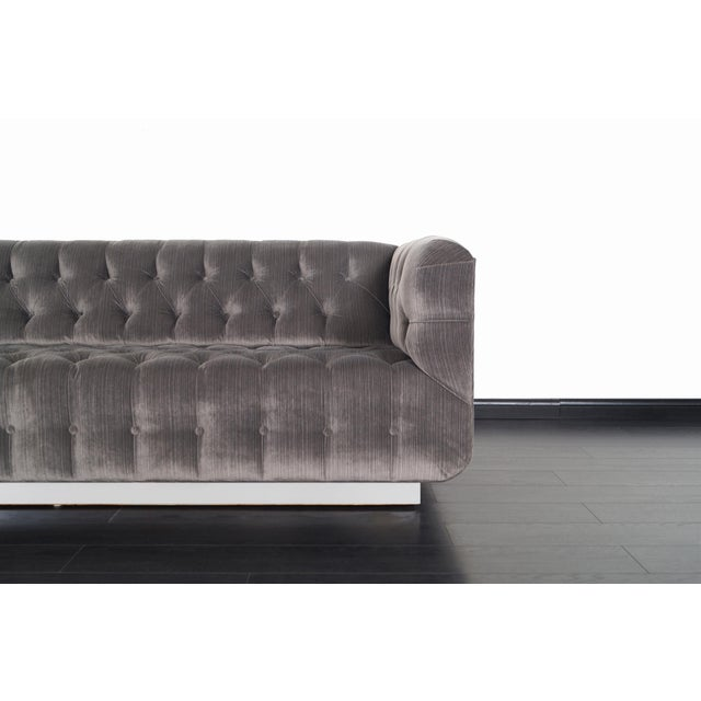Vintage Tufted Chrome Sofa by George Kasparian For Sale In Los Angeles - Image 6 of 10