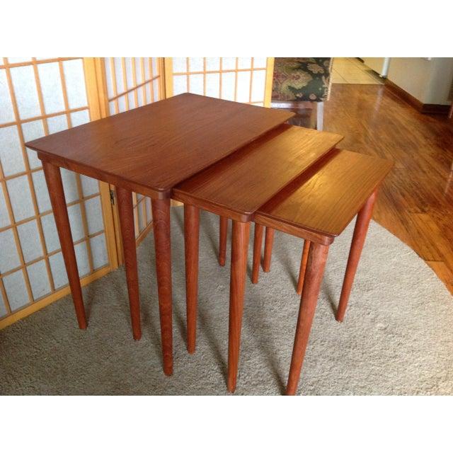 Danish Teak Nesting Tables - Set of 3 - Image 4 of 5
