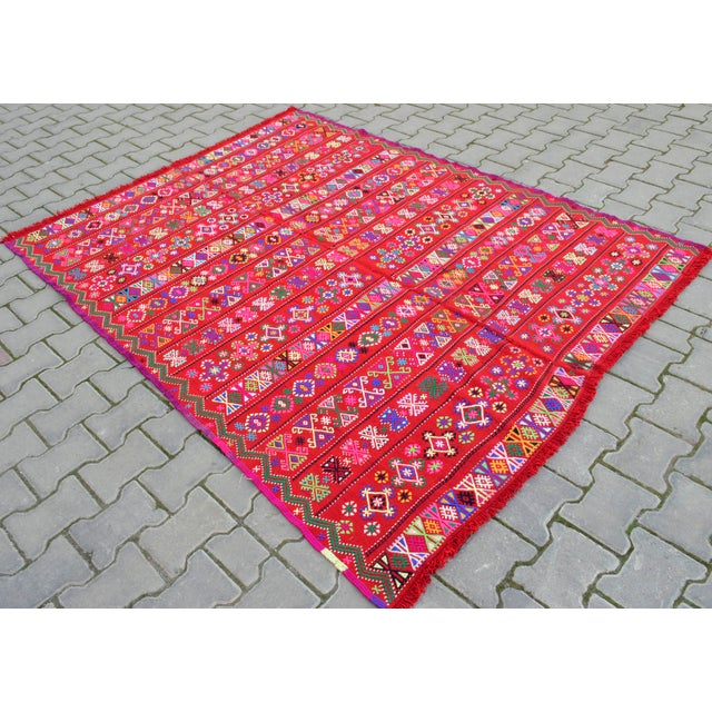 Modern Colorful Area Rug - 5′6″ × 6′12″ For Sale - Image 4 of 9