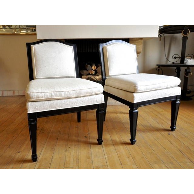White Style of J.M.Frank Neoclassic Pair of Slipper Chairs Covered in Silk For Sale - Image 8 of 8
