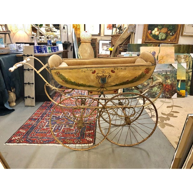 19th Century Continental Wood and Canvas Perambulator For Sale - Image 9 of 10