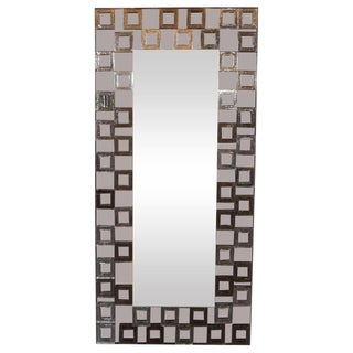 Modernist Handblown Murano Smoked Mirror With Repeating Square Motifs For Sale