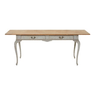 Provincial Swedish Rococo Style Dove Gray Wood Desk For Sale