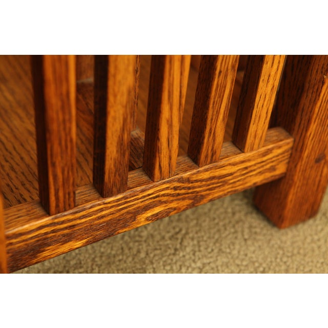 Brown Mission Style Solid Oak Magazine Stand For Sale - Image 8 of 12