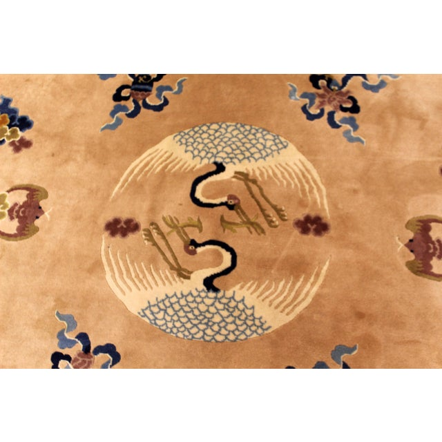 Contemporary Traditional Modernist Silk Rectangular Area Rug Carpet Blue For Sale In Detroit - Image 6 of 8