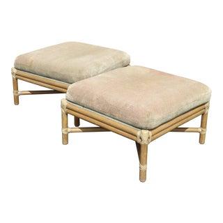 Pair Vintage Mid-Century Modern McGuire Furniture Bamboo Rattan Sage Ottomans