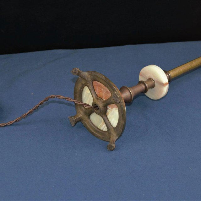 1920s Onyx and Brass Table Lamp For Sale - Image 5 of 8