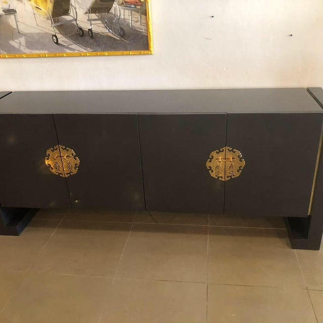 Vintage Hollywood Regency Century Furniture Grey Lacquered Brass Credenza Buffet Sideboard For Sale - Image 9 of 13
