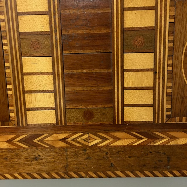 Antique 19th C. Inlaid Wooden Game Board - Image 4 of 9
