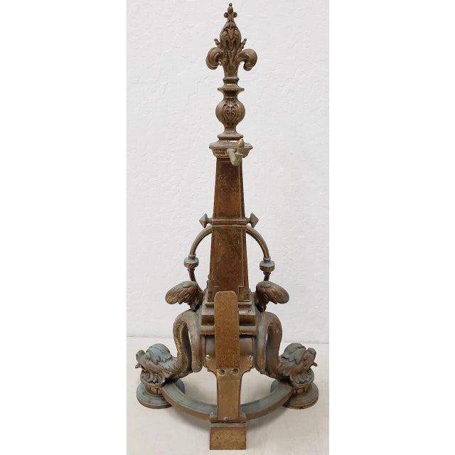 Late 19th Century Late 19th Century French Baroque Bronze Chenets / Andirons - a Pair For Sale - Image 5 of 12
