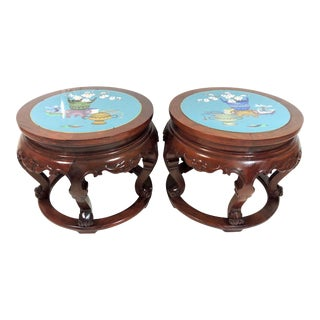 Fine Chinese Rosewood Blue Cloisonné Enamel Top Stools With Flowers, Side Tables, Pedestals - a Pair For Sale