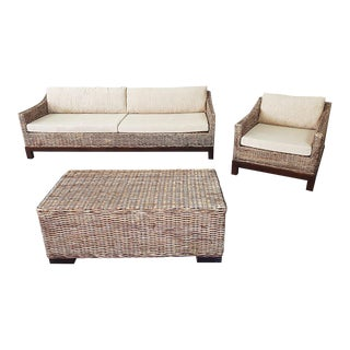 Vintage Rattan Living Room Set, 3 Pieces For Sale