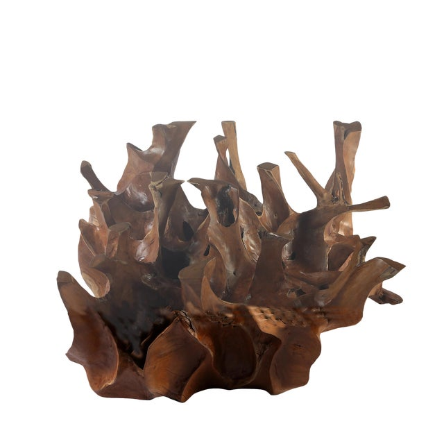 Organic Modern Sculptured Square Teak Root Coffee Table Base For Sale