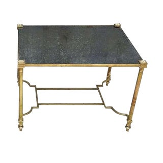 1970 Single Neoclassical Brass End Table With Eglomise Mirrored Glass and Unique Stretcher For Sale