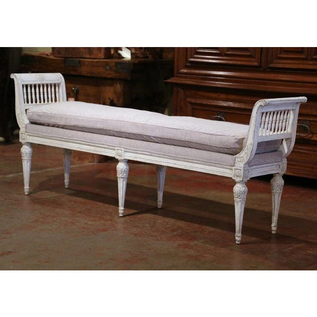 White 19th Century French Directoire Carved Painted Banquette With Back and Upholstery For Sale - Image 8 of 11