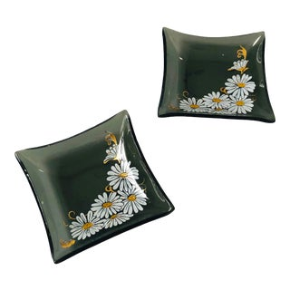 Pair of Small Vintage Glass Daisy Trays For Sale