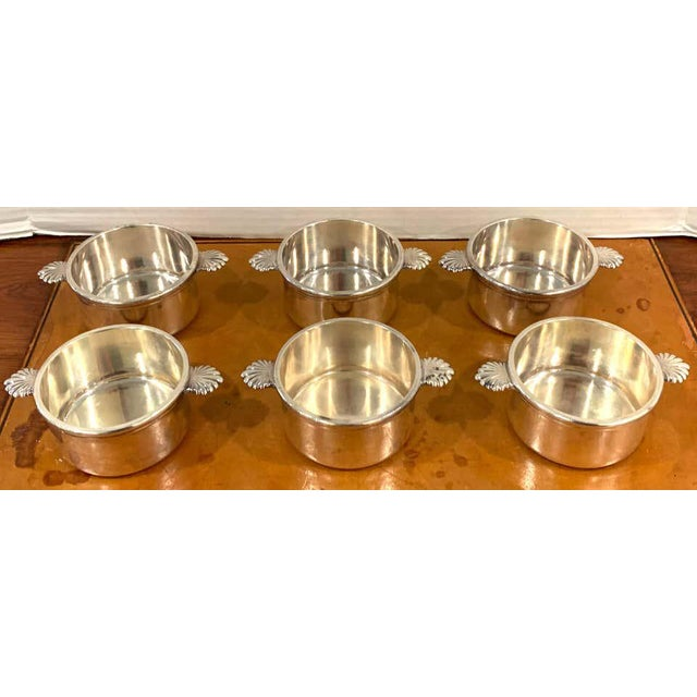 Six French silverplated handled open tureens/ Pot de Crème by Europe Felix Each one of exceptional weight and...