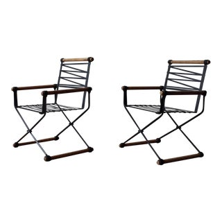 1960s Vintage Iconic Cleo Baldon Campaign Chairs- A Pair For Sale