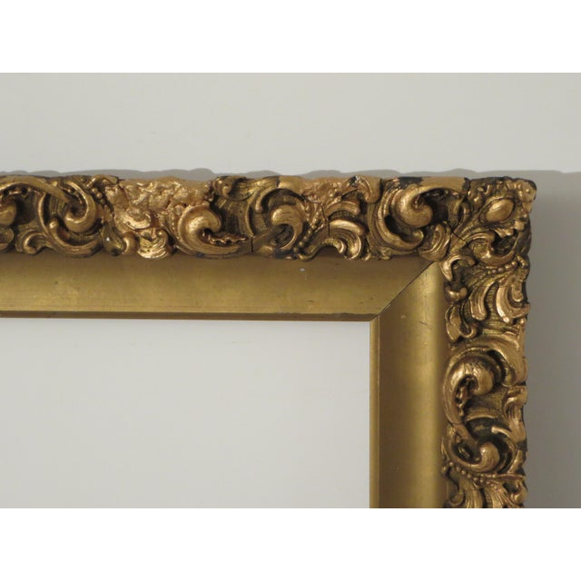 Antique Wood Gesso Gold Gilt Picture Frame for an Oil Painting, Mirror, or Print. The frame itself is in very good...