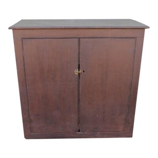 19th Century Wall Cabinet in Original Painted Brown Surface For Sale