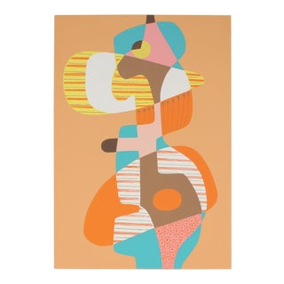 Abstract Cubist Serigraph in Orange, 1971