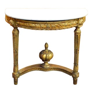 Late 18th Century French Carved Giltwood Demilune Console Table For Sale