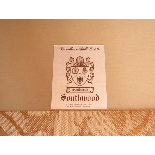 Brass Contemporary Southwood Damask and Chenille Leopard Print Settee with Pillows - 3 Pieces For Sale - Image 7 of 12