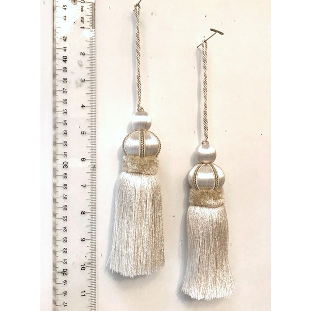 2010s Ivory Key Tassels W Cut Velvet Ruche - a Pair For Sale - Image 5 of 11