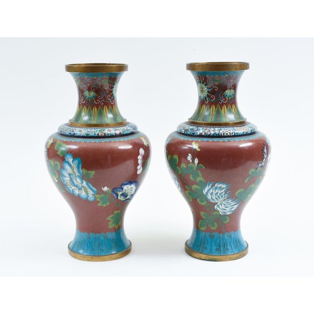 Late 19th Century Late 19th Century Cloisonné Floral Decorative Vases - a Pair For Sale - Image 5 of 13