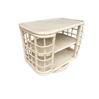 Restored White Painted Mid Century Rattan Side Table Bookshelf For Sale