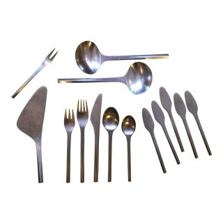 """Georg Jensen Satin Stainless """"Prism"""" Flatware Service for 8 - 53 Pc. Set For Sale"""