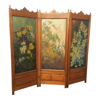 Antique 3 Panel Victorian Oak & Floral Oil Painting Screen