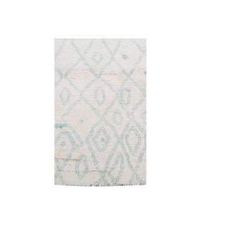 "White and Blue Moroccan Wool Runner - 2'4""x10'1"" Preview"