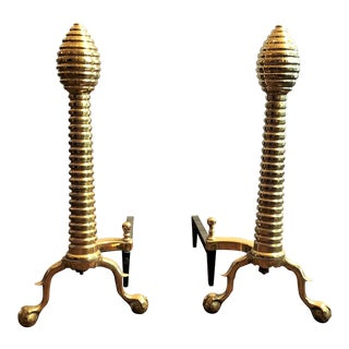 "Pair Antique English Polished Brass ""Beehive"" Andirons, Circa 1880."